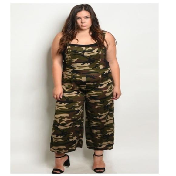 5d8ea4bcf06e7 Khaki Camouflage Plus Size Jumpsuit